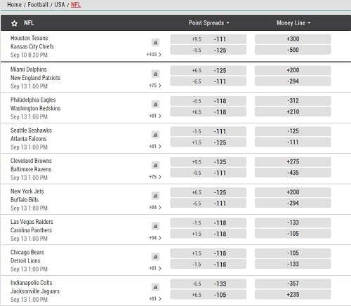 NFL Lines at Sport bet Montana