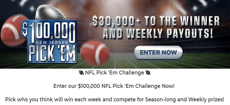 Enter The $100,000 Pro Football NFL Pick 'Em Contest at SugarHouse Sportsbook New Jersey