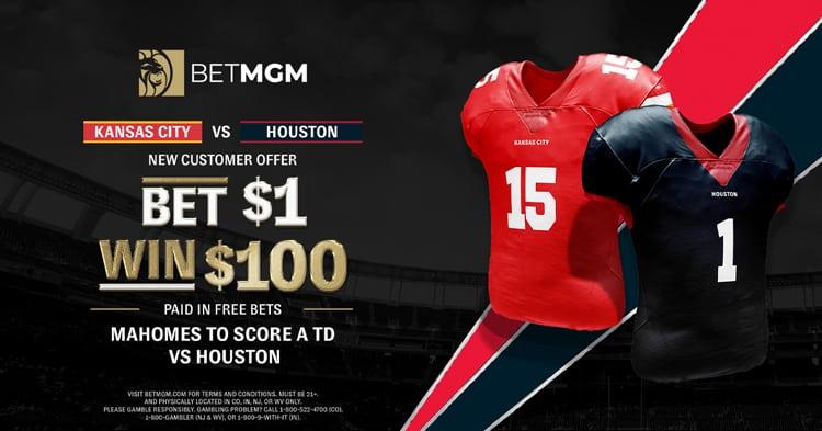 Bet $1, Get $100 on a Patrick Mahomes TD – BetMGM Sportsbook Promo Offer