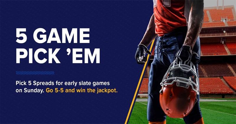 5-Game NFL Pick 'Em Jackpot Highlights Five William Hill Sportsbook Promotions for This Weekend
